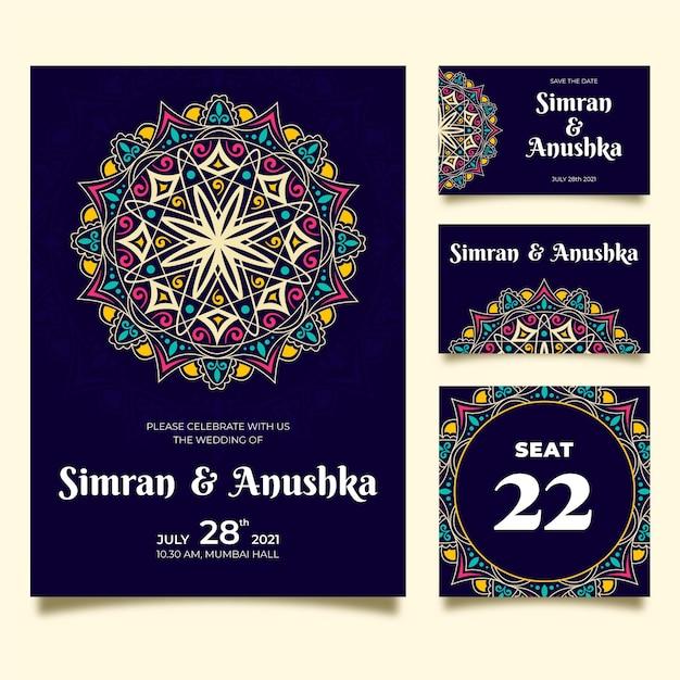 Pacote de papelaria de casamento indiano Vetor Premium