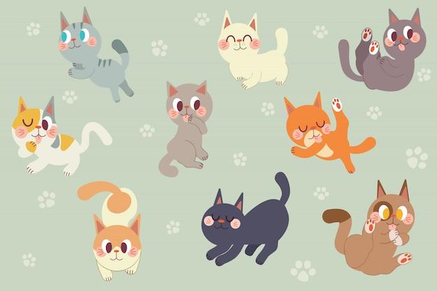 Pacote de personagem de gatos bonitos dos desenhos animados Vetor Premium