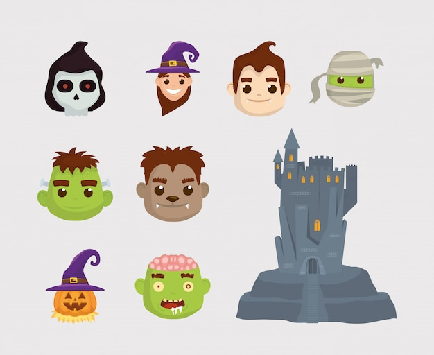 Pacote de personagens de halloween e castelo conjunto de ícones Vetor Premium