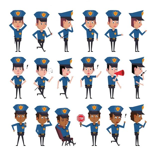 Pacote de personagens de policiais Vetor Premium