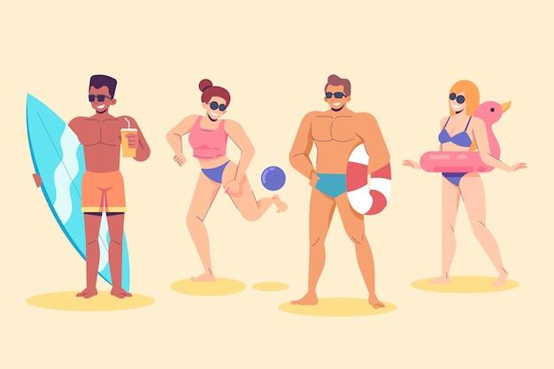 Pacote de pessoas na praia Vetor grátis