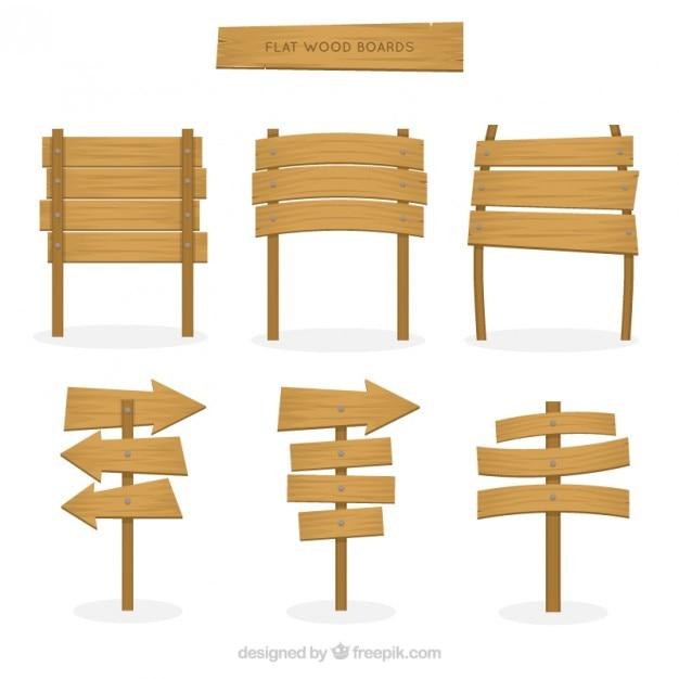 Pacote de placas de madeira planas Vetor grátis