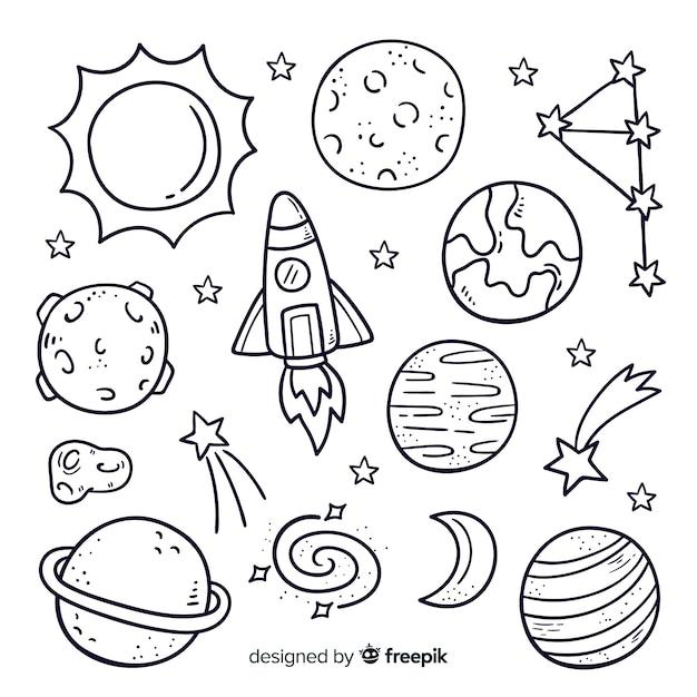 Pacote de planeta desenhado de mão em estilo doodle Vetor Premium