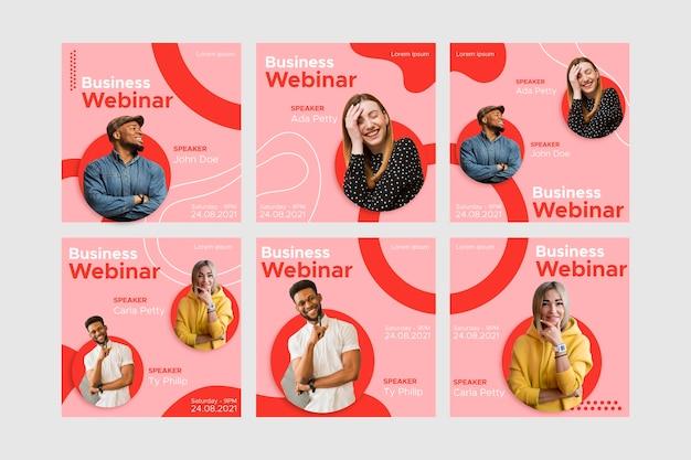 Pacote de postagens do instagram para webinar Vetor Premium