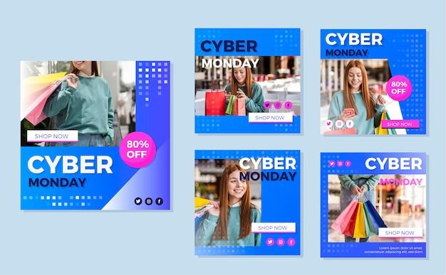 Pacote de posts do cyber segunda-feira instagram Vetor Premium