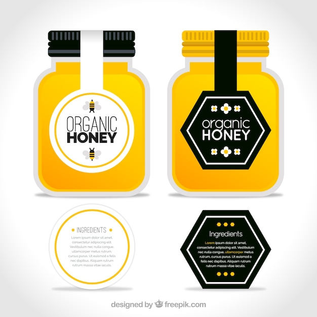Pacote de potes de mel orgânicos com rótulos Vetor grátis