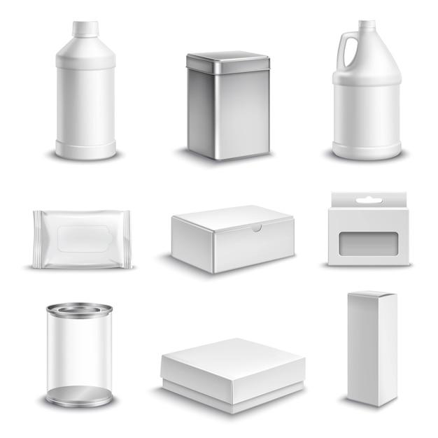Pacote de produtos realista conjunto de ícones Vetor grátis
