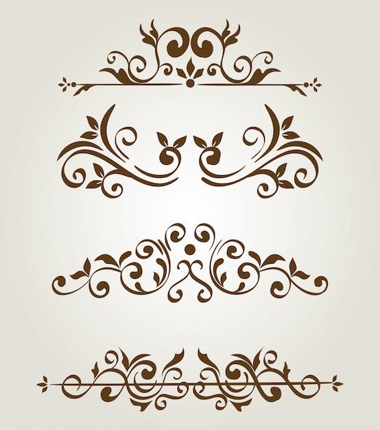 Pacote de quadros de bordas ornamentais elegantes Vetor grátis