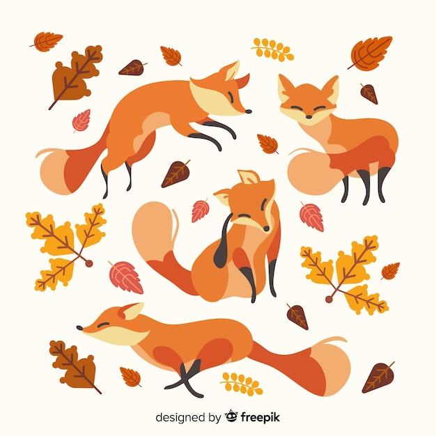 Pacote de raposas de mão desenhada Vetor grátis