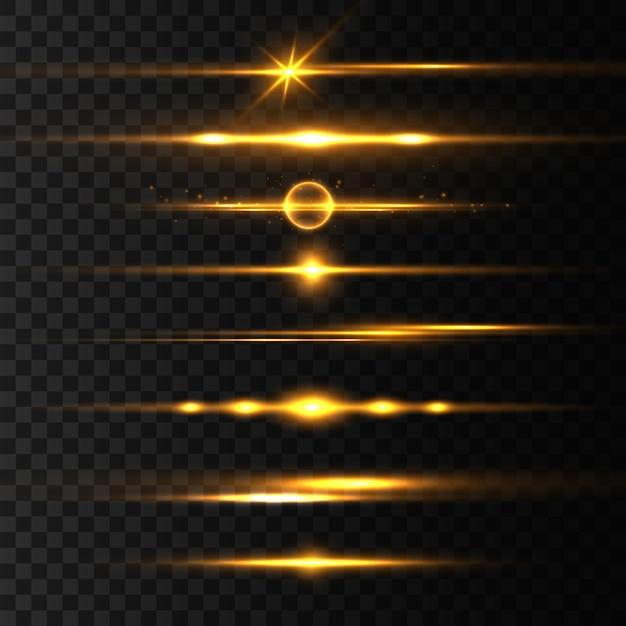 Pacote de reflexos de lente horizontal amarela, feixes de laser, reflexo de luz. raios de luz linha de brilho brilho dourado brilhante sobre fundo transparente listras brilhantes. linhas cintilantes abstratas luminosas. ilustração Vetor Premium