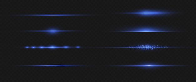 Pacote de reflexos de lente horizontal azul. feixes de laser, raios de luz horizontais. luzes bonitas. Vetor Premium