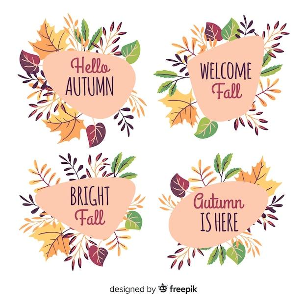 Pacote de rótulos de outono mão desenhada Vetor grátis