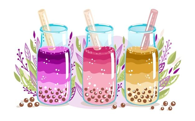 Pacote de sabores de chá de bolhas desenhadas à mão Vetor Premium