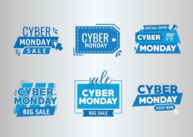 Pacote de seis banners cibernéticos de segunda-feira desenho de ilustração vetorial Vetor Premium