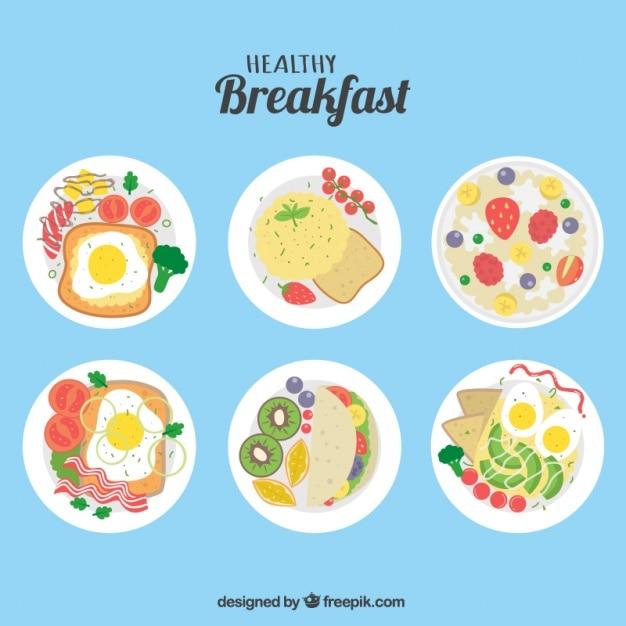 Pacote de seis pequeno-almoço saudável no design plano Vetor grátis