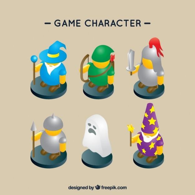 Pacote de seis personagens do jogo role-playing Vetor grátis