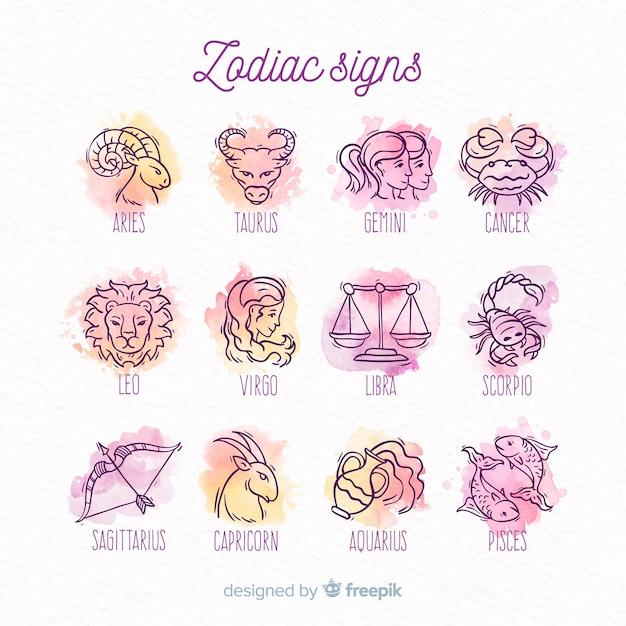 Pacote de signos do zodíaco em aquarela Vetor grátis