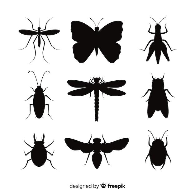Pacote de silhueta de insetos Vetor grátis
