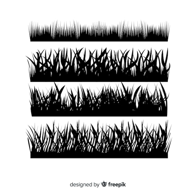 Pacote de silhuetas de fronteira de grama Vetor grátis
