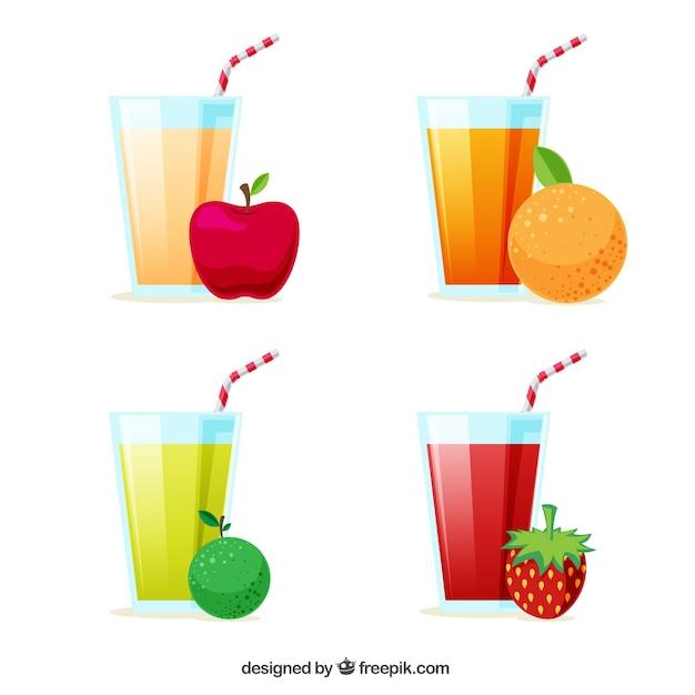 Pacote de sucos e frutas Vetor grátis