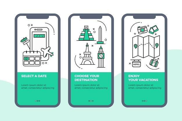 Pacote de telas de aplicativos de integração de viagens Vetor grátis