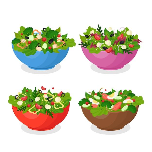 Pacote de tigelas de frutas e saladas Vetor grátis
