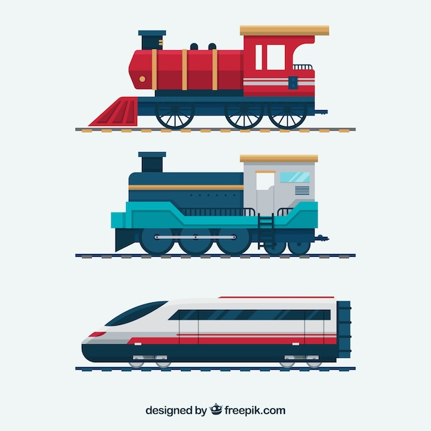 Pacote de trens de diferentes épocas Vetor grátis