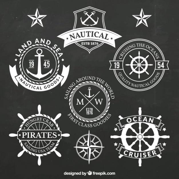 Pacote de vários emblemas salor na cor branca Vetor grátis