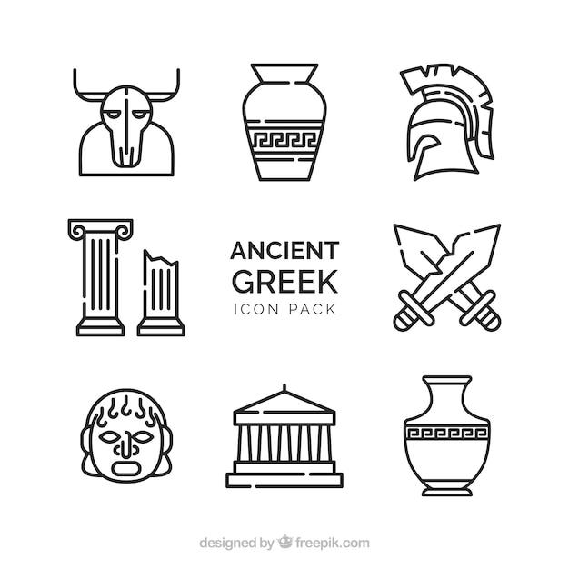Pacote de vector velha de antigos desenhos gregos Vetor grátis