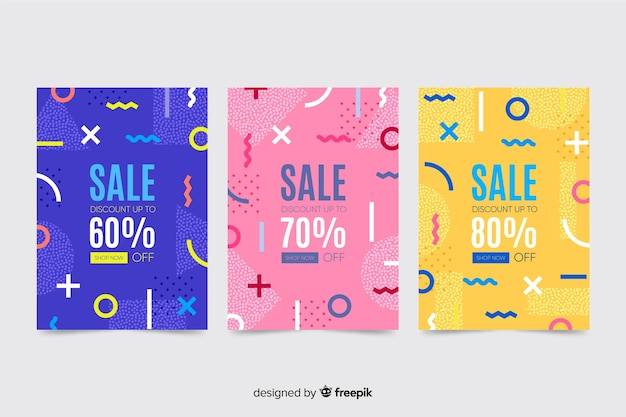 Pacote de vendas coloridas banner estilo memphis Vetor grátis