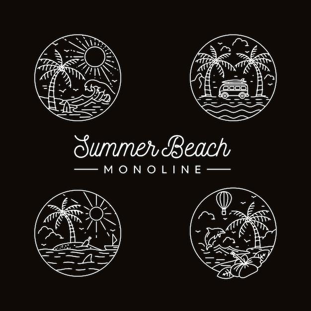 Pacote de verão praia monoline Vetor Premium