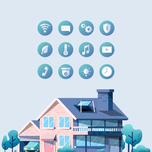 Pacote de vetor para casa inteligente com ícones Vetor grátis