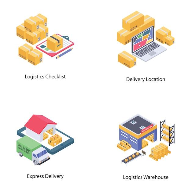Pacote de vetores de entrega logística Vetor Premium