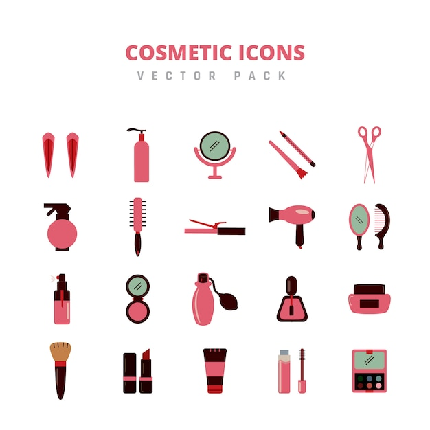 Pacote de vetores de ícones cosméticos Vetor Premium