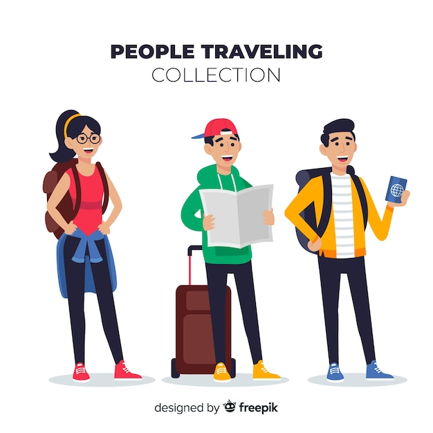 Pacote de viagem de pessoas desenhadas a mão Vetor grátis