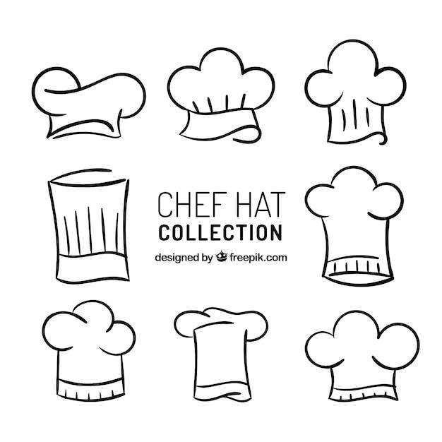 Pacote desenhado à mão de oito chapéus de chef Vetor grátis