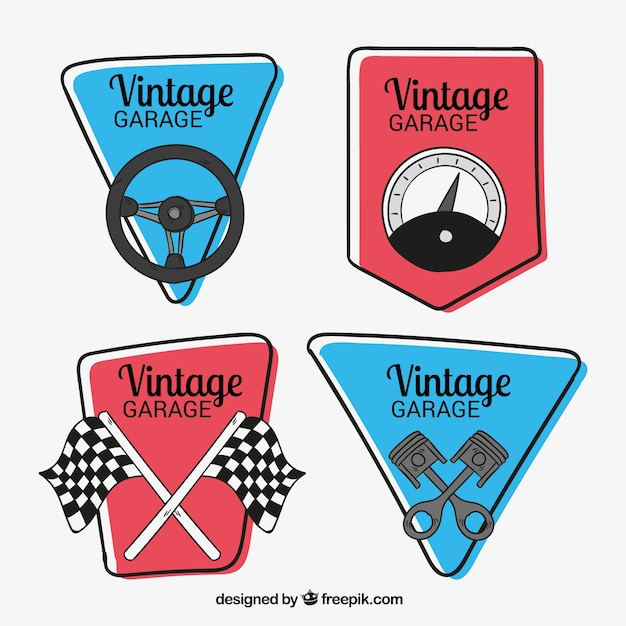 pacote desenhado mão de quatro logotipos de carros antigos Vetor grátis