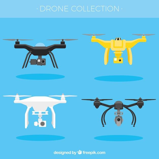 Pacote divertido de drones modernos Vetor grátis