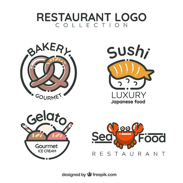 Pacote divertido de logos de restaurantes Vetor grátis