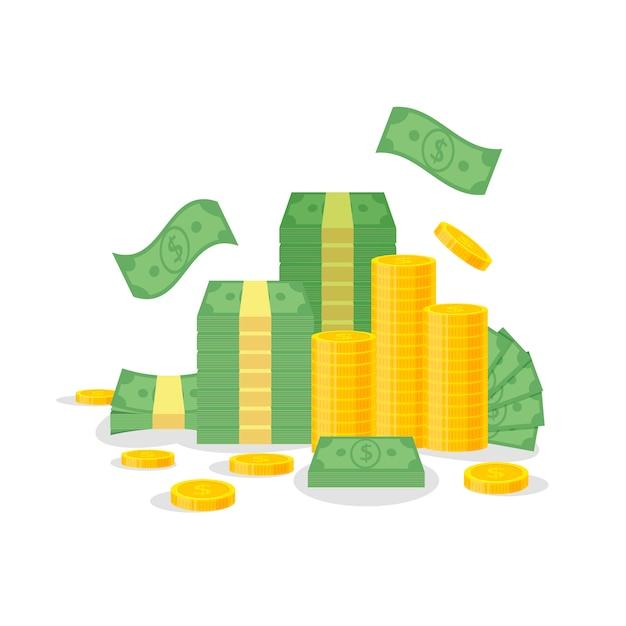 Pacote do dinheiro e pilha da moeda isolada no fundo branco. notas de dólar verde, contas voam, moedas de ouro - ilustração plana Vetor Premium