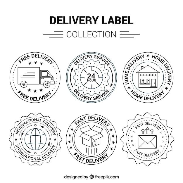 Pacote Elegan de etiquetas de entrega vintage Vetor grátis