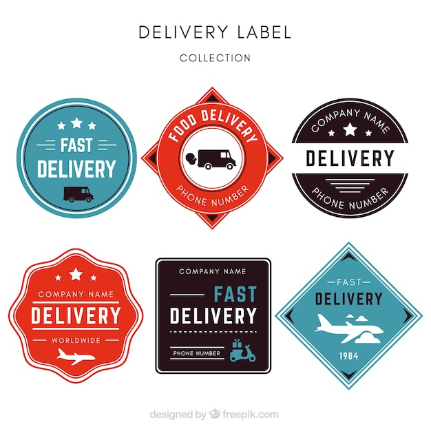 Pacote elegante de etiquetas de entrega vintage Vetor grátis