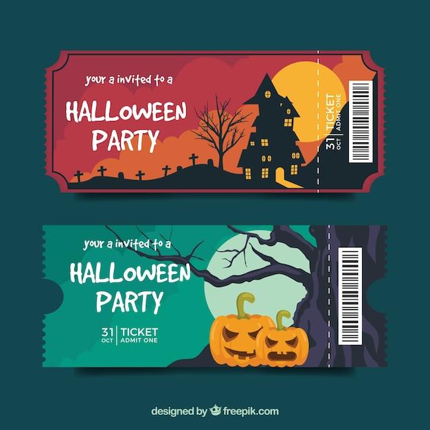 Pacote elegante de ingressos de halloween Vetor grátis