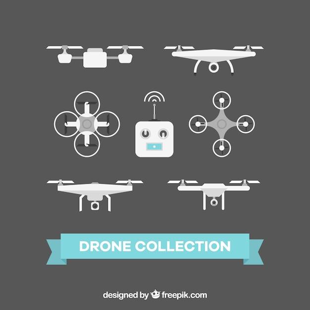 Pacote elegat de drones planos Vetor grátis