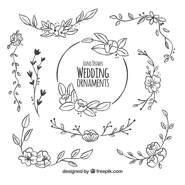 Pacote floral de decoração de casamento Vetor grátis