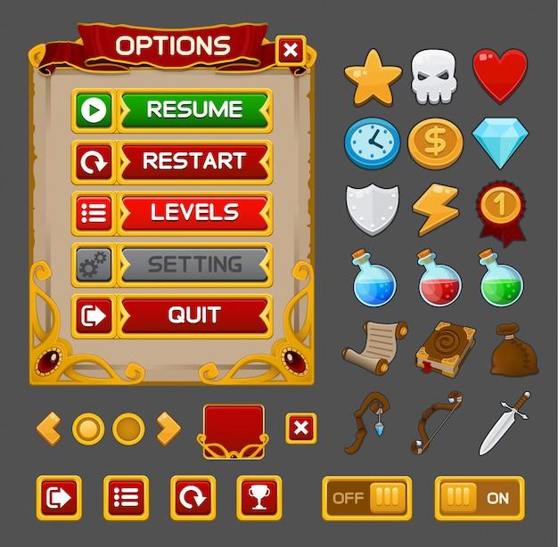 Pacote gui de jogo medieval Vetor Premium