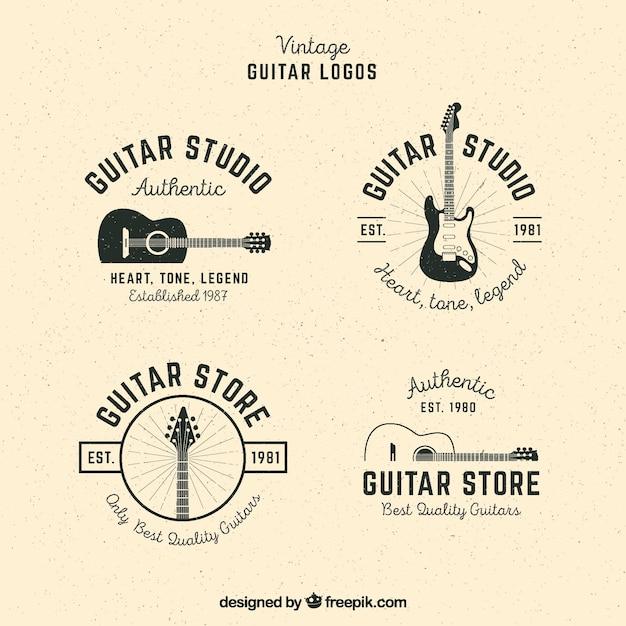 Pacote, guitarra, logotipos, vindima, estilo Vetor grátis