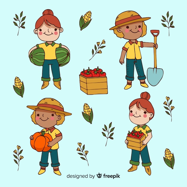 Pacote ilustrado de trabalhadores agrícolas de design plano Vetor grátis