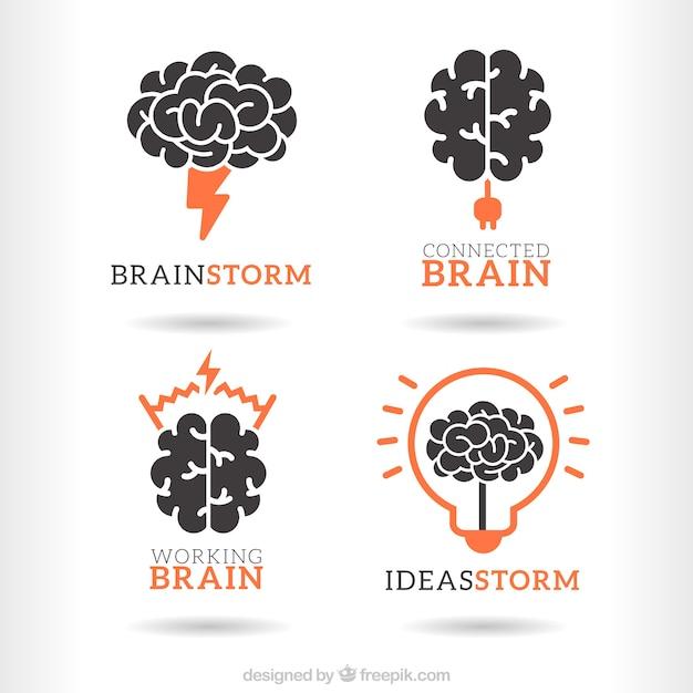 Pacote logos brainstorm Vetor grátis
