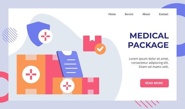 Pacote médico na campanha de entrega de caixa para página inicial da página inicial do website Vetor Premium